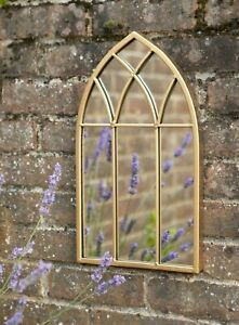 Gold Arched Gothic Window Metal Distressed Wall Mirror Home or Garden Decor