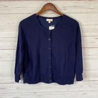 Maison Jules Mixed Media Cropped Cardigan Sweater XL Navy Blue 3/4 Sleeve NWT