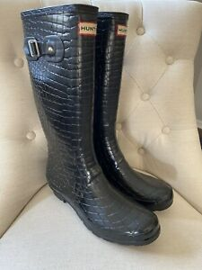 Hunters Woman's Rain Boots Black Sz 10 11 ~ NICE ~