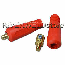 Quick Fitting Cable Connector-Plug Red Color 200Amp DKJ10-25 Welding Machine 2pk