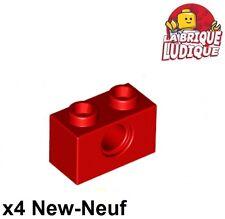 Lego Technic - 4x Brique Brick 1x2 hole rouge/red 3700 NEUF
