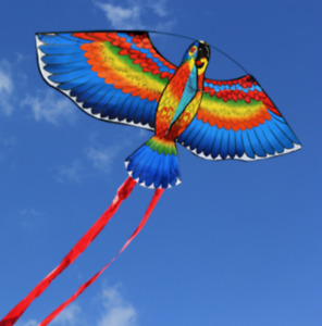 "43"" Bule Kites For Kids Children Lovely Cartoon Parrot Kites W/30m Flying Line"