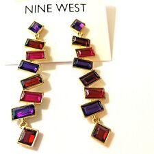 Nine West Women's Linear Earrings Red Dangle Purple Multi Stone New