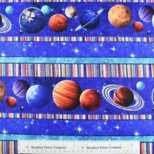 STARS PLANETS MOONS Fabric Fat Quarter Cotton Craft Quilting Border Stripe