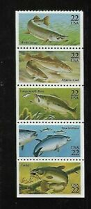 US Scott # 2209a - US  Booklet Pane Of Five - Fish - MNH OG F-VF (1986)