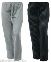 Ladies new pinstripe trouser full elastic waist Size 16 - 26 Black Green Grey