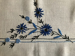 "Vintage Hand Embroidered Linen Tablecloth ~ Blue & Black Floral ~ 62""x80"""