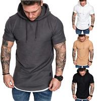 Herren Kurzarm Hoodie T-shirt Oberteil Freizeithemden Kapuzen Hemden Shirt Tops