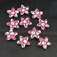 10 star-shaped LOVE CUORE ROSA, BIANCO E MARRONE due fori da cucire legno pulsante Set