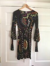 M MISSONI Layered Flare Sleeve Viscose Dress Multicolor Size 2 Made In Italy