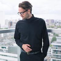 Henbury Men's Long Sleeve Stretch Roll Neck Cotton Rich Top Smart Plain Tee New