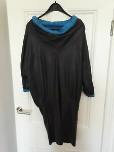 Vintage 1980s Black Leather and Blue Suede Dress. Probably a UK10, EU38, US6