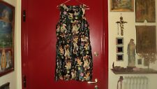 TOPSHOP REAL LEATHER BLACK SKATER DRESS PAINTED ANIMALS FLOWERS PRINT*UK16/US12