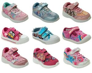 GIRLS OFFICIAL BRANDED CARTOON CHARACTER TOUCH FASTEN TRAINERS KIDS UK SIZE 5-2
