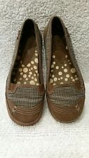 MUDD Womens Sz8 Brown Suede/plaid Loafer Casual Slip Ons