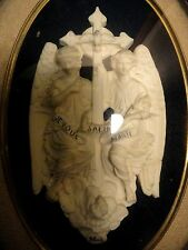 "ANGELS ""I SALUTE YOU MARY"" Antiq 19th C. MEERSCHAUM PLAQUE WOOD FRAME 207x273mm"