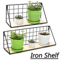 Iron Wall Mounted Hanging Shelf Storage Holder Rack Wooden Iron Home Cafe Decor