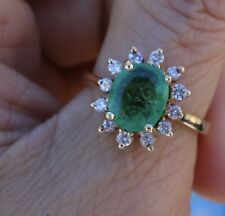 right-hand engagement ring 18k Yg 2cts Emerald Diamond halo cluster