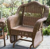 Brown Resin Wicker Patio Rocking Chair Glider Outdoor Home Furniture
