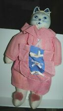 """Cloth doll, with blue and white porcelain cat head, 15"""", excellent"""