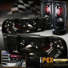 Dodge Ram 1500 2500 3500 (Shiny Smoke) Headlights + Black-Smoked Tail Tail Light