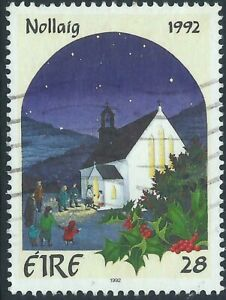 Ireland 1992 Christmas 28p Congregation entering Church Very Fine used stamp