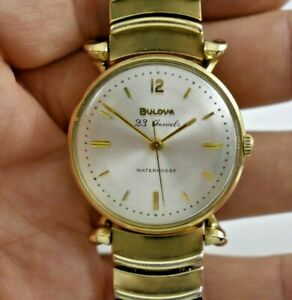 Vintage 1960 M0 Bulova Extra Fancy 10KGF Case JB Champion Band Watch Runs lot.e