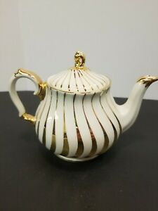 Vintage Saddler Teapot Cream With Gold Spiral Made In England