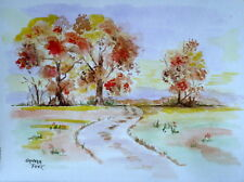Fall Trees on Lane painting a day 9x12  watercolor, refer to orig by Wm Newton