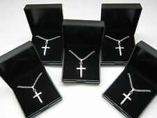 """Wholesale 20 x New Silver Plated 18"""" Necklaces & Cross Pendant with Gift Boxes"""