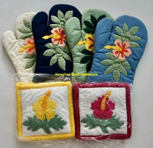 8 Hawaiian Quilt Bundle oven mitts pot holders HIBISCUS