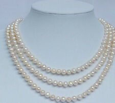 """triple strands8-9mm south sea round white pearl necklace 18""""19""""20""""14K"""