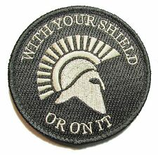 SPARTAN WITH YOUR SHIELD OR ON IT WARRIOR ACU LIGHT MILITARY MORALE VELCRO PATCH