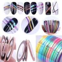 Multi Colors Nail Sticker Rolls Striping Tape Line Nail Art UV Gel Tips DIY Kit