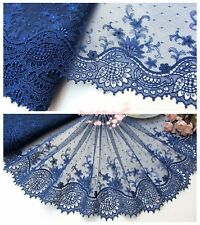 """9""""*1Y Embroidered Tulle Lace Trim~Navy Blue~Unforgetable Grace~Costume/Sewing~"""