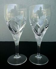 VILLEROY & BOCH - FOGLIA - SIGNED CRYSTAL WINE GLASSES - PAIR