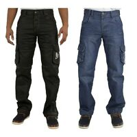 Mens Cargo Combat Style Black Coated Designer Jeans Pants All Sizes 28 - 48