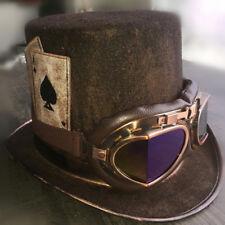 Expédié de Paris - Chapeau Steampunk Haut de Forme Lunettes Goggle Marron Rétro