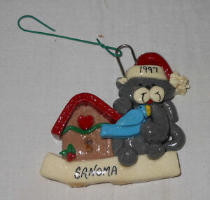Christmas Cat Tree Ornament Ceramic Bluebird Personalized 3 inch Sanoma 1997