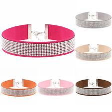 EG_ Women Velvet Full Diamond Rhinestone Choker Collar Boho Necklace Jewelry Uti