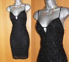 Karen Millen 12 Black Lace Heavy Beaded Vintage Unique Rare Cocktail Mini Dress