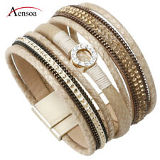 Fashion Women Leather Rhinestone Beads Magnetic Wrap Wristband Charm Bracelet