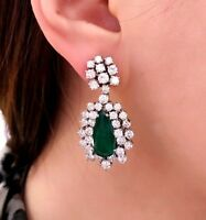 10.60 ct Pear Shaped Emeralds and Diamond Drop Earrings 18K White Gold -HM1948R7
