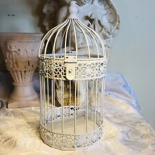 14� White Metal Birdcage Cottage Chic Shabby Chic