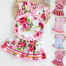Toddler Kid Baby Girl Floral Printed Cheongsam Princess + Dress Outfits Set