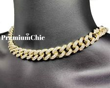 "16"" Miami Cuban Choker Chain Necklace Hip Hop Mens Silver Plated Iced Jewelry"
