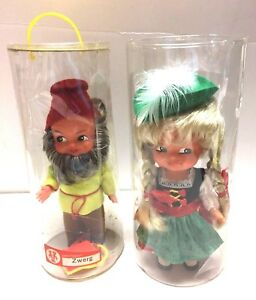 2 Sweetheart Tanzpuppe Vintage Dancing Dolls Zwerg PigTails Made in West Germany