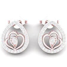 0.75ct Natural Round Diamond Women's Unique Drop Stud Earrings 10Carat Rose Gold