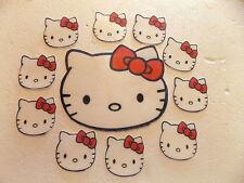 1 Grande + 12 pequeñas Precortada Comestibles Hello Kitty Cumpleaños cake/cupcake Toppers