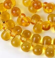 50 Czech Glass Teardrop Beads - Medium Topaz